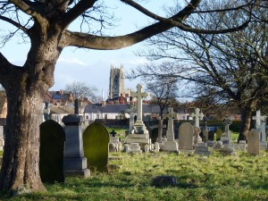 24 Headstones & St Oswalds Church (West Facing